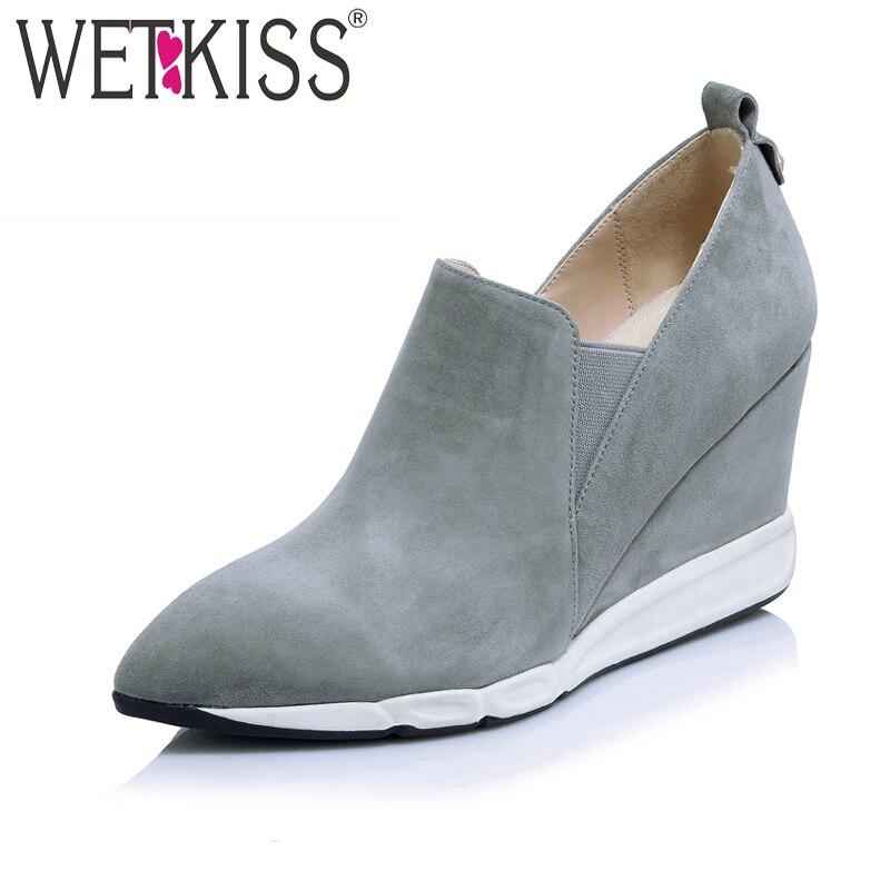 все цены на WETKISS 2018 New Arrival Wedges Kid Suede Women Pumps Pointed Toe Slip-On High Heels Footwear Spring Fashion Casual Ladies Shoes онлайн