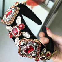 2017 New Limited Edition Baroque Crown Full Rhinestone Handmade Hair Bands Red Crystal Velvet Wide Headband Wedding Hair Jewelry