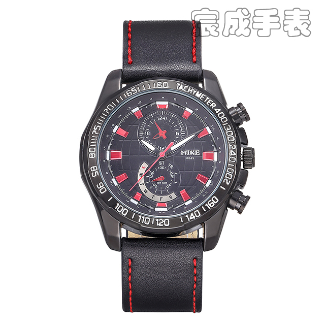 44a368a1e57c Free Shipping 1PC High Quality Leather Band MIKE Brand Men s Watches MK  Fashion Sports Watch Man Casual Dress Wristwatches New