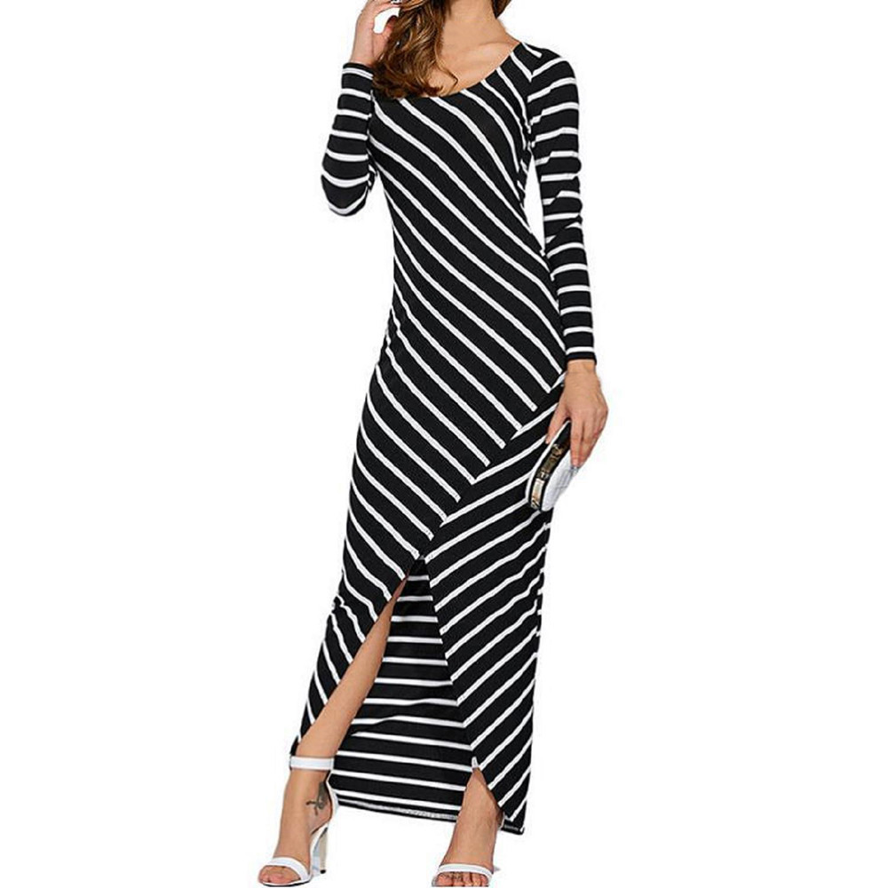 Women fashion striped long sleeve o-neck hip sexy irregular fork dress autumn comfortable stylish black dress