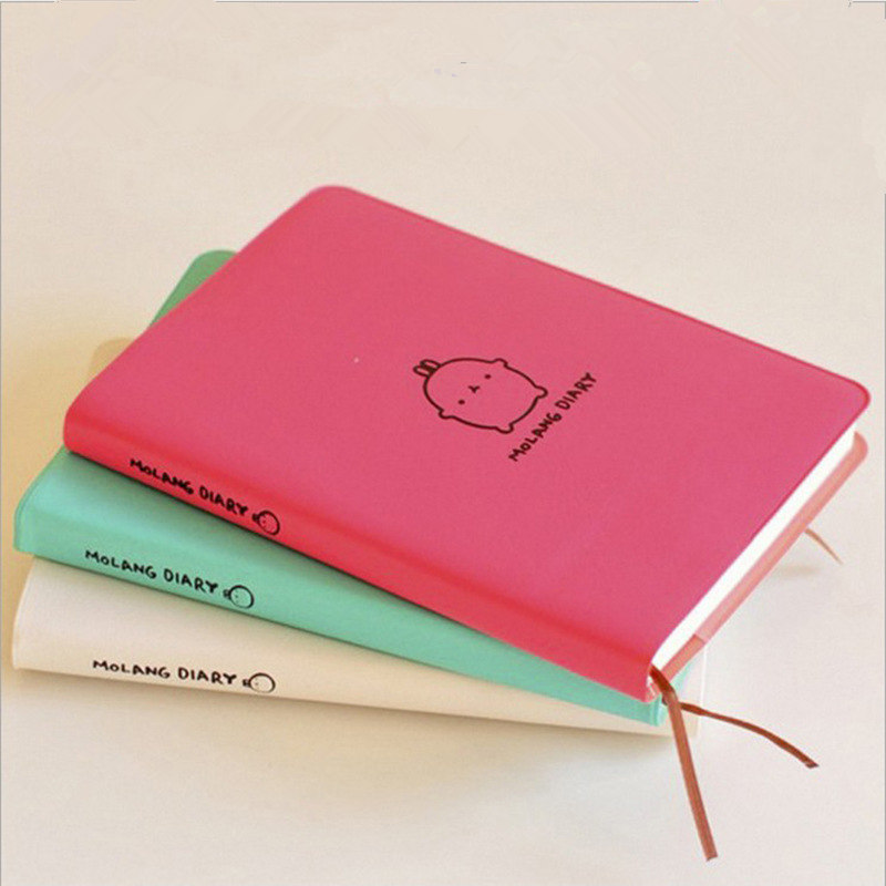 Cute Kawaii Notebook Cartoon Molang Rabbit Journal Diary Planner Notepad For Kids Gift Korean Stationery Three Covers 2018 2019