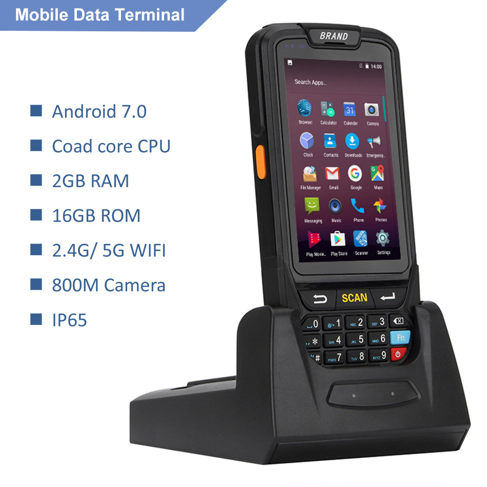 DHL Free Shipping 4G LTE Android mobile data terminal PDA 1D 2D scanner portable barcode reader handheld scanner with display
