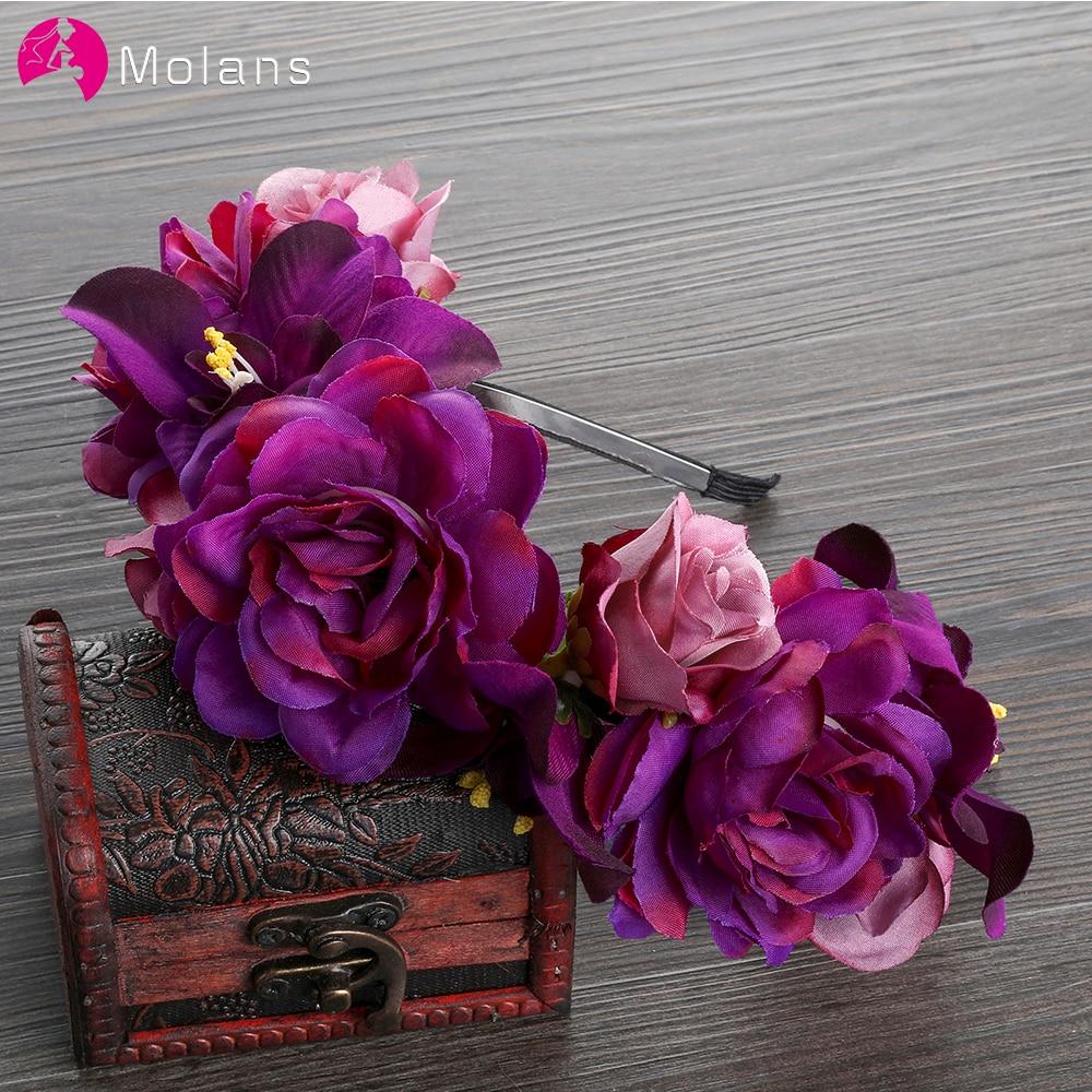 MOLANS Bride Wedding Headwear Simulation Rose Flower Crown Headband Purple Florals Crown Wreath Chapeau Accessories