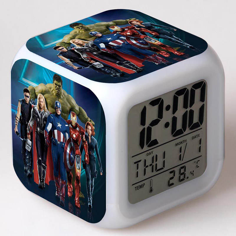 Superheroes The Avengers Figurines Alarm Clock With LED Colorful Touch Light PVC Figure Model Toys For Children