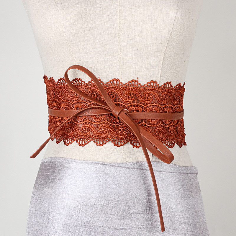 Women Waist Band Lace PU Leather Self Tie Wrap Around Waistband Obi Cinch Dress Belt -OPK