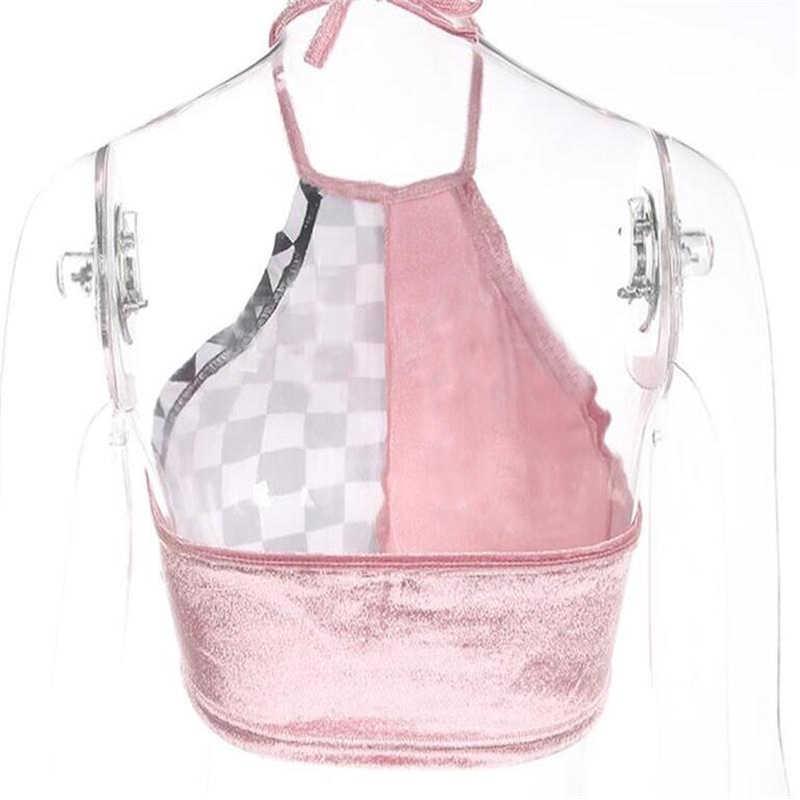 夏市松セクシーなピンクベルベットホルタータンクトップス女性グリッドベストクロップトップノースリーブブラウスカジュアル Tシャツ