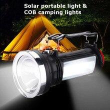Portable hanged Solar Power Super bright COB LED Outdoor Camping Flashlight Emergency Lantern Lamp 1w headlight fash warm light