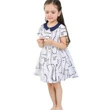 Summer Cute Baby Kids Girl Dress Clothes Peter Pan Collar Short Sleeve Dress Children Cartoon Cat Print Princess Party Dress
