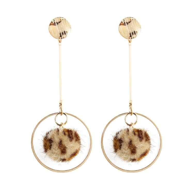 Hot Sale Leopard Drop Dangle Earrings Female Gold Color Geometric Round Statement Earring For Women Fashion Za Party Jewelry