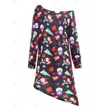 COCKCON Women Plus Size Slanted Collar Long Sleeve Vintage Swing Dress  Party Dress f94f40eb41ef
