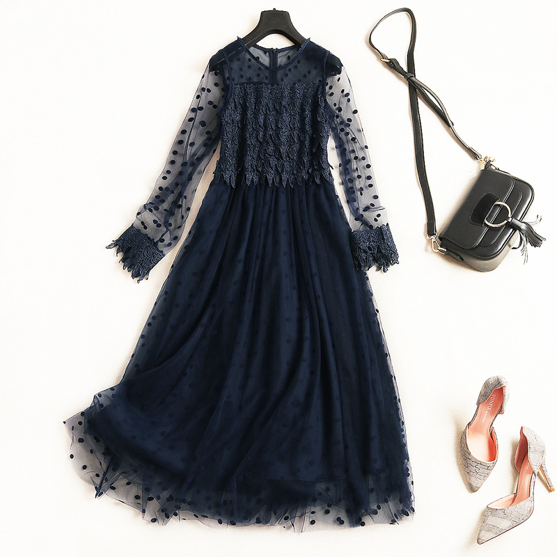 Women fashion sexy black mesh patchwork lace dress long sleeve bow gown gothic style long dresses new 2018 autumn navy