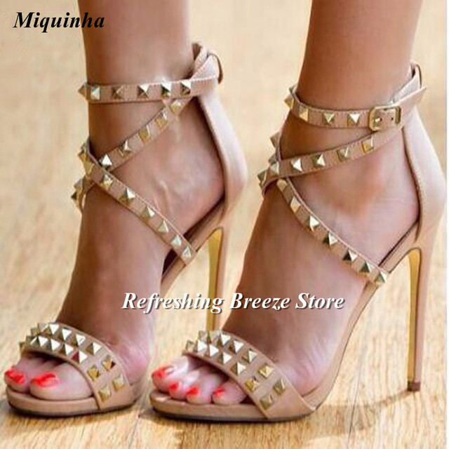 50d9f19e01a Women spikes sandals sexy gold silver rivets stud gladiator sandals strappy  stiletto thin high heels wedding
