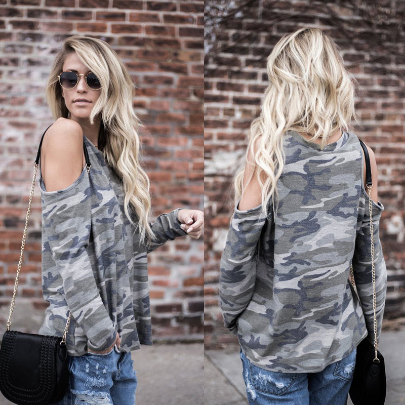 Camouflage T Shirt Women Long Sleeve Cold Shoulder Tops 2018 Autumn Loose Tees Sexy Ladies Round Neck Cut Out T-shirt