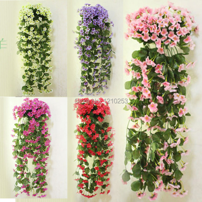 Wall Mounted Home Wedding Decorations Artificial Flowers Vine Rattan Violet Flower Party