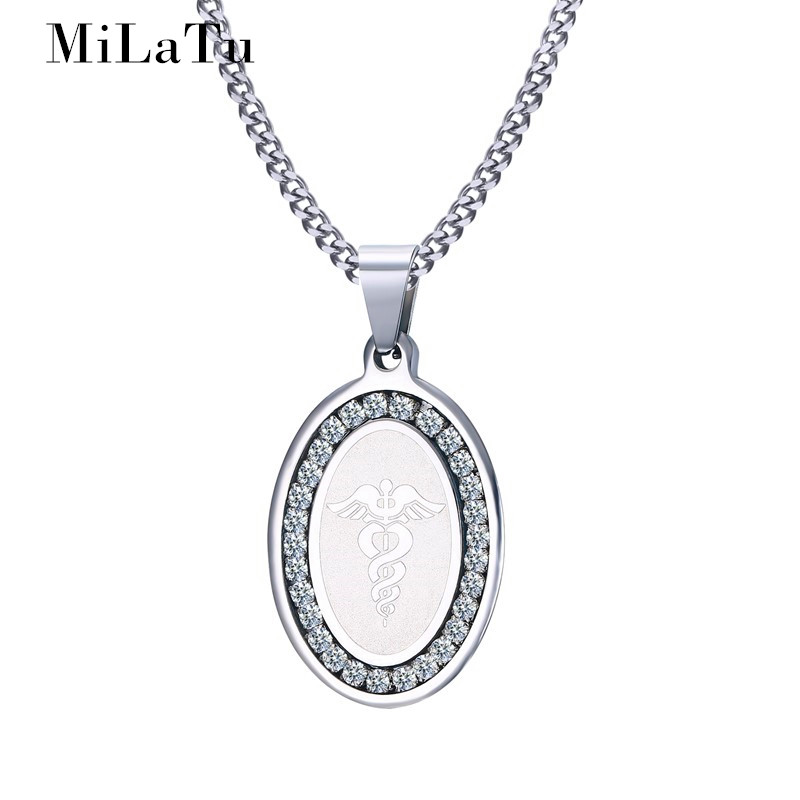 Milatu men star of life medical necklaces pendants stainless steel milatu men star of life medical necklaces pendants stainless steel cz stone caduceus pendant free chain male jewelry ne260g in pendant necklaces from aloadofball Images