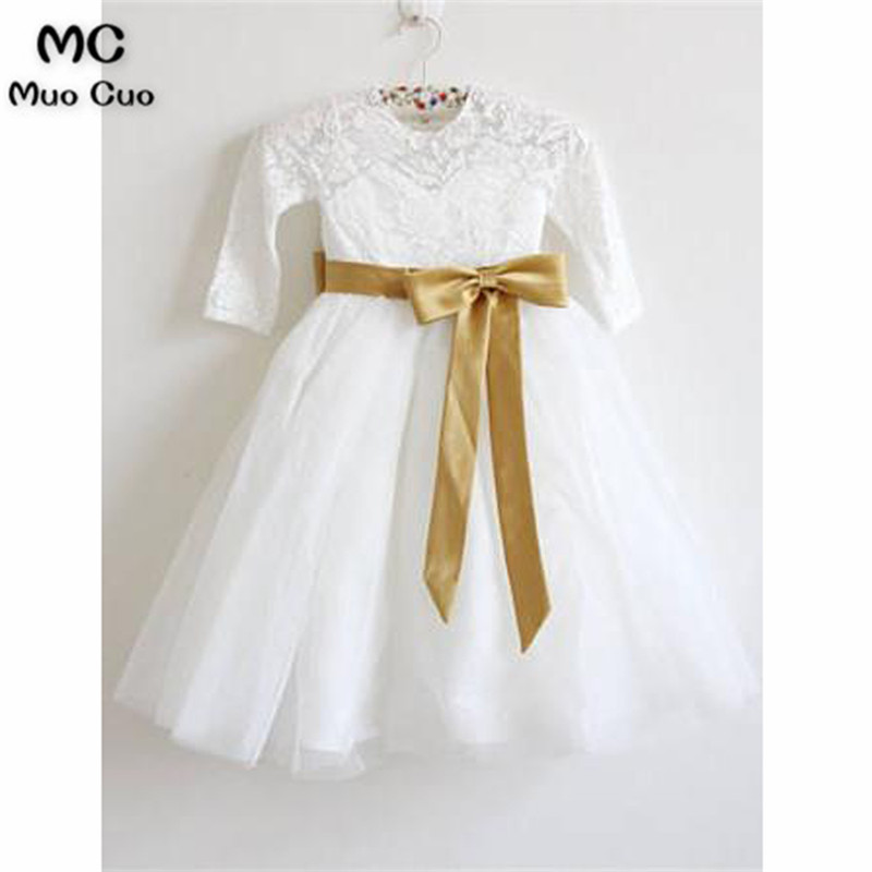 Lovely 2018 Ball Gown Gold Ribbon 3/4 Sleeves first communion   dresses   for   girls   Tulle O-Neck   flower     girl     dresses   for weddings