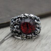 S925 sterling silver ring authentic Thai silver old mighty eye of the devil open male ring