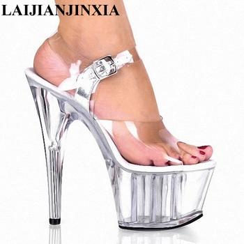 LAIJIANJINXIA Crysta Nightclub Party 15cm High-Heels Sandals Dance Shoes Dancing Shoes Model High Heels Lady Dance Shoes K-040