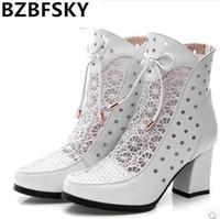 Alta Qualidade Mulheres Botas de Couro Genuíno Tornozelo Botas Lace Botas Zapatos Chaussures Femme Quadrados Mulheres de Salto Alto Sapatos de Verão
