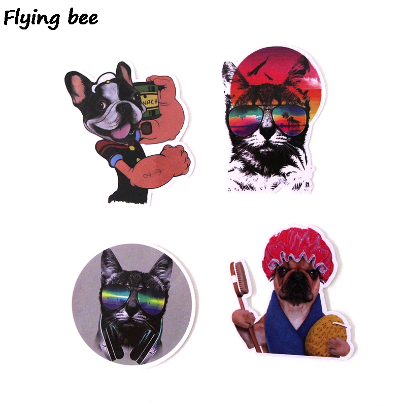 Image 4 - Flyingbee 15Pcs Bulldog Funny Waterproof Sticker Scrapbooking for phone luggage laptop guitar Graffiti Decal Pet stickers X0282-in Stickers from Consumer Electronics