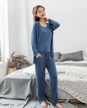 Neuen schlafanzug frauen pijama shein nachtwäsche sommer modale weste + hosen + strickjacke 3 stück set frauen sexy dessous lose startseite anzüge
