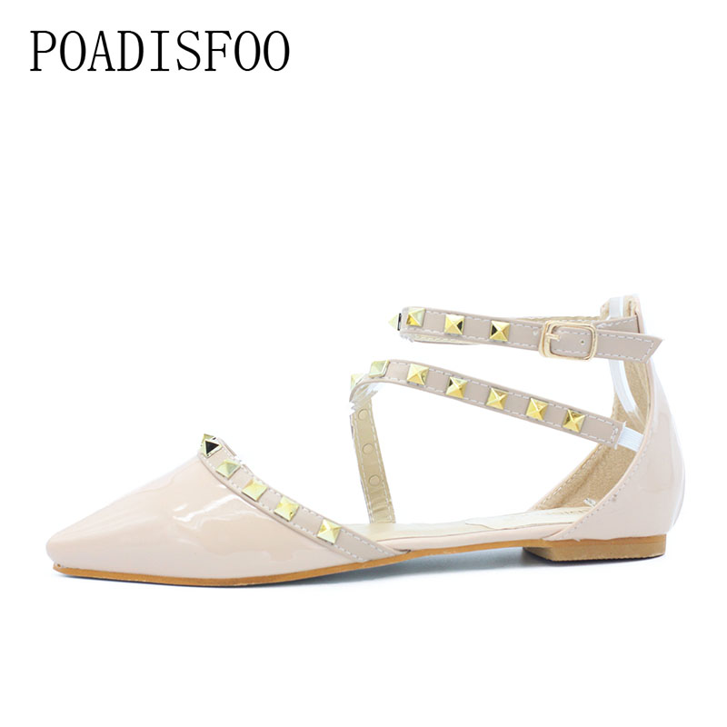 POADISFOO New women's fashion casual  pointed rivet flat shoes women flats sweet color valentine shoes .CXH-5688-2 beyarne new fashion casual women pointed toe rivet flat bottom shoes women slip on valentine flats candy color zapatos mujer