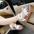 2016 женщин сладкий летний новый Корейских женщин сандалии туфли на платформе Рим размер 34-43 плоские сандалии