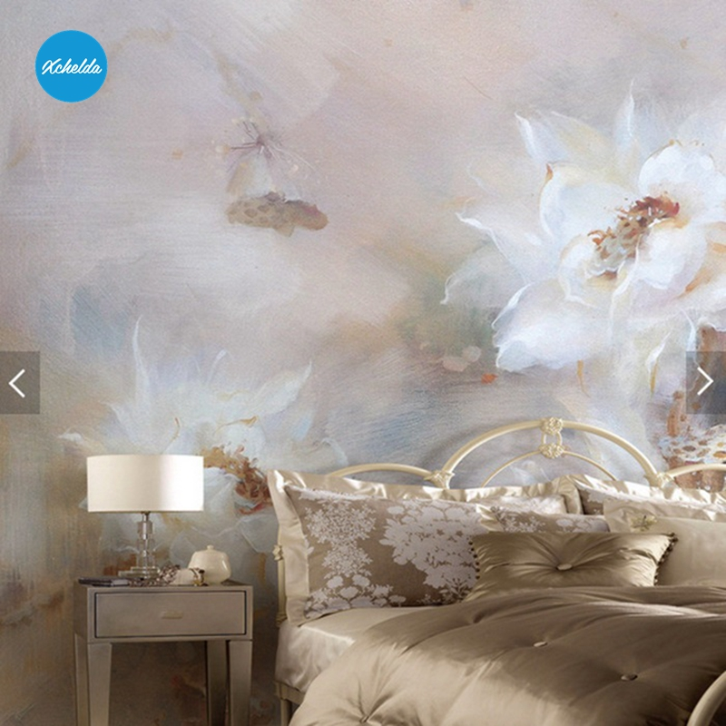 XCHELDA Custom 3D Wallpaper Design White Lotus Photo Kitchen Bedroom Living Room Wall Murals Papel De Parede Para Quarto kalameng custom 3d wallpaper design street flower photo kitchen bedroom living room wall murals papel de parede para quarto