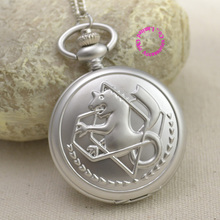 wholesale Fullmetal Alchemist Pocket Watch necklace women Cosplay Edward Elric with Chain Anime Boys Silver Tone lady girl hot