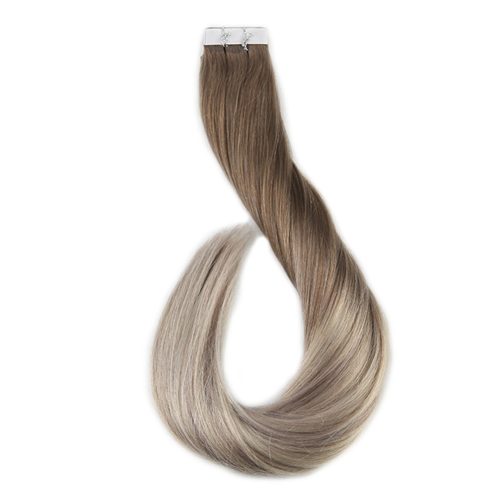 Full Shine Tape In Balayage Hair Color#8 Fading To 60 And 18 Dip Dyed 50g 20Pcs 100% Remy Human Haar Tape In Hair Extensions