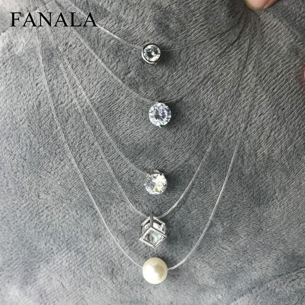 Zircon Transparent Pearl Chain Invisible Fishing Necklace Necklace Line Women Crystal Imitation Square For Stone Cz Fashion