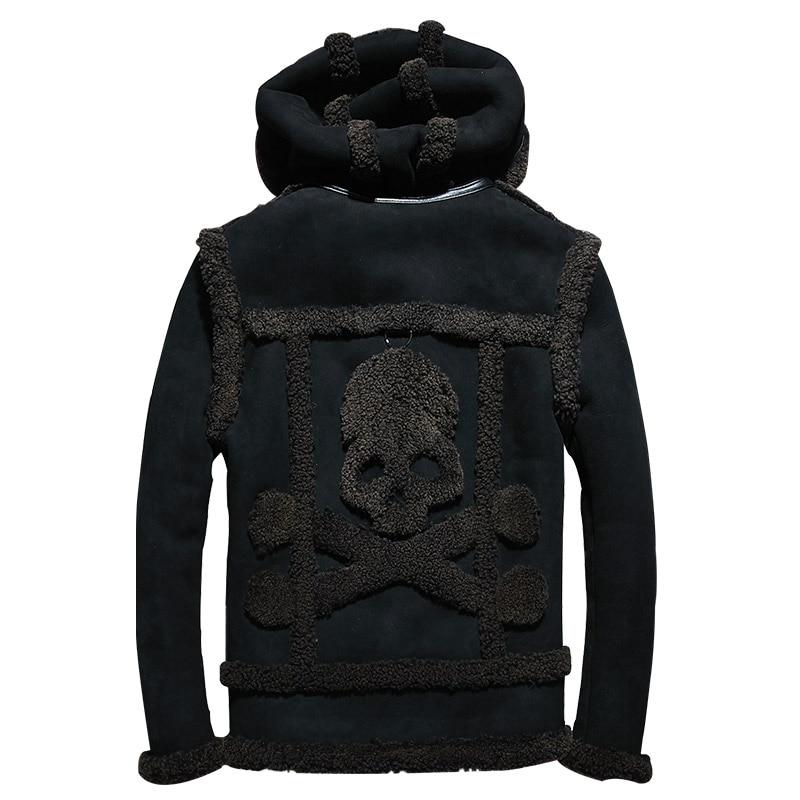 2019 noir hommes capuche crâne motif Shearling veste grande taille XXXXL hiver épais russe véritable Shearling manteau livraison gratuite