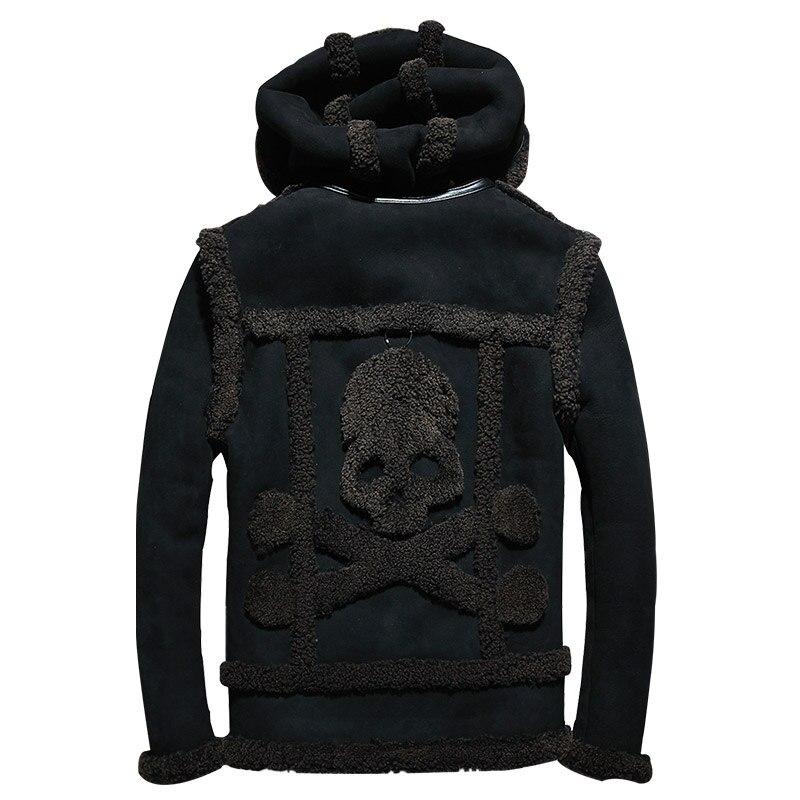 2019 Schwarz Männer Haube Schädel Muster Lammfell Jacke Plus Größe Xxxxl Winter Dicke Russische Echtes Lammfell Mantel Kostenloser Versand