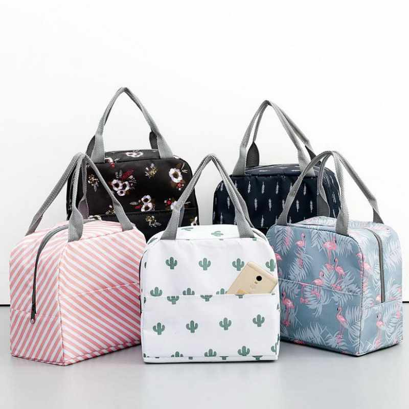 Cactus Portable Insulated Oxford Lunch Bags Thermal Food Picnic Lunch Bags For Women Kids Functional Pattern Cooler Lunch Box