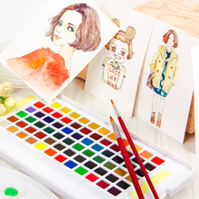 Buy Sakura 36/48/60/72Color Watercolor Paint Set Box Portable Solid Watercolor Painting Pigment Sketch With Paint Brush Art Supplies directly from merchant!