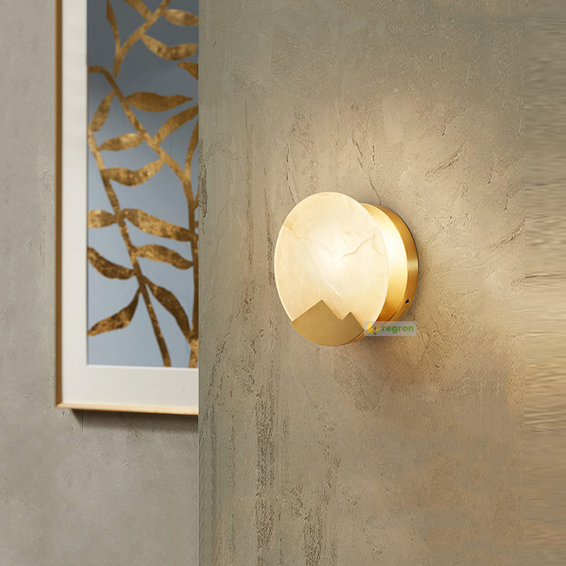 Modern Brass Marble Wall Lamp Living Room Bedroom Bedside Creative Lights For Bathroom Balcony Stairs Aisle Led wall lights modern minimalist 9w led acrylic circular wall lights white living room bedroom bedside aisle creative ceiling lamp