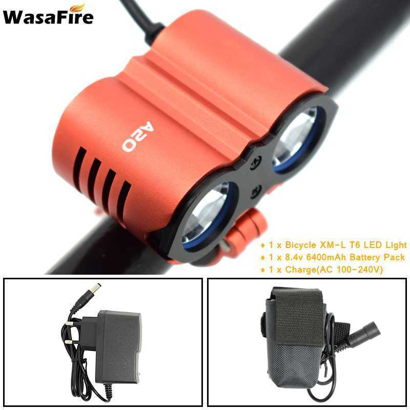 Wasafire NEW <font><b>Bicycle</b></font> Front <font><b>Light</b></font> XM-T6 Headlight <font><b>7000</b></font> <font><b>Lumen</b></font> LED Bike <font><b>Light</b></font> Lamp Headlamp +18650 Battery Pack 6400mAh/9600mAh image