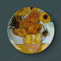 Famous Painter Oil Painting Decoration Plate Sunflower Oil Painting Ceramic Plate