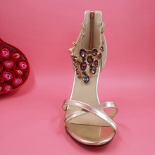 Gold/Silver Patent Leather Rhinestones Wedding Sandals Stiletto High Heels Slingbacks Custom Color Large Size Shoes Women Runway