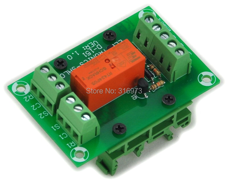 Bistable/Latching DPDT 8 Amp Power Relay Module, DC5V Coil, With DIN Rail Feet