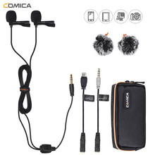 лучшая цена Comica CVM-D02 Dual Lavalier Lapel Microphone Clip-on interview mic for iPhone Android Smartphone for Sony Canon Nikon Cameras