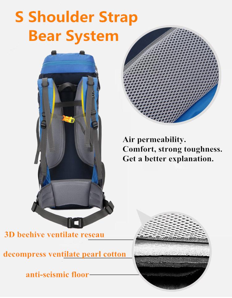 Waterproof 65L Tactical Unisex Backpack Shoulder Strap Bear System