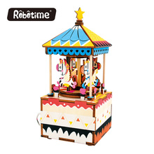 Free Shipping Robotime 3D Puzzle DIY Wedding Souvenirs Wooden Restaurant Decoration Christmas Music Box Merry-go-round AM304