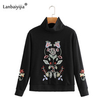 Lanbaiyijia Новые Цветочные Вышивка водолазка женские худи, пуловер с длинным рукавом Свободные Осень для женщин Кофты модный топ