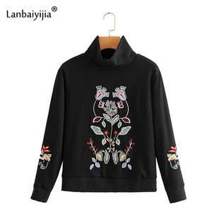 Women Sweatshirts Pullover Turtleneck Long-Sleeve Autumn Fashion Lanbaiyijia Floral Top