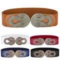 2016 Nuevos Accesorios de Moda Femenina Cinturones de Vestir Señora de La Pretina de Las Mujeres de Metal Correa de Cintura Ancha Stretch Elástico Ancho Cinturón Para El Vestido