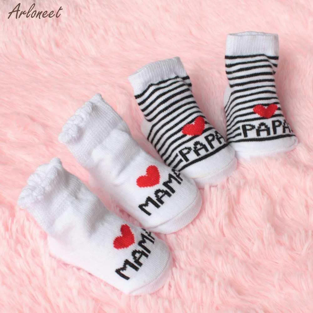 Baby Infant Boy Girl Slip-resistant Floor Socks Love Mama Papa Letter Socks Kids socks Children's baby girl bow socks 2019 NEW