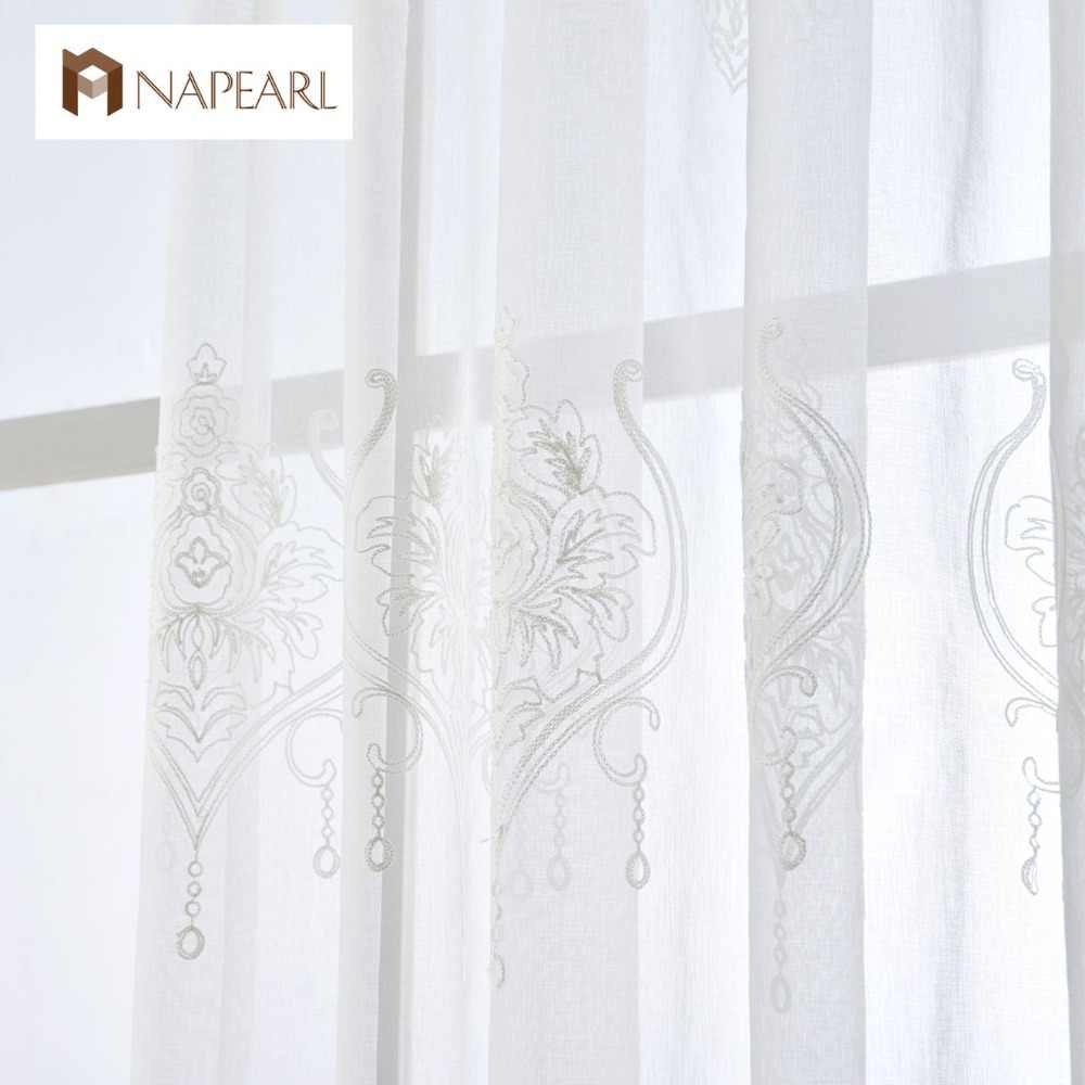 NAPEARL 1 Piece Embroidered tulle linen curtains white European modern living room window treatments short curtain window sheers