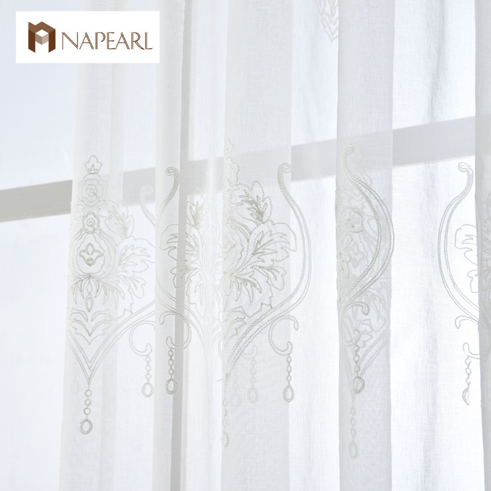 Embroidered Tulle Linen Curtains White European Modern Living Room Window Treatments Short Curtain Sheers