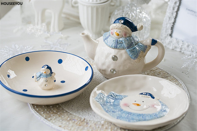 Home Decorations Dessert Plate Snacks Dishes Creative Cute Cartoon Ceramic Bowl Snowman Dish & Home Decorations Dessert Plate Snacks Dishes Creative Cute Cartoon ...